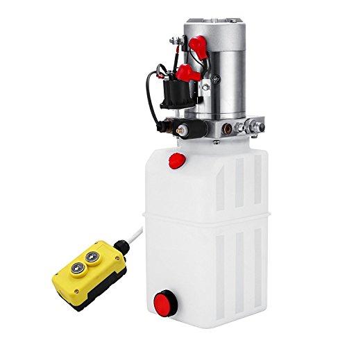 Preisvergleich Produktbild ZauberLu 12V / DC Hydraulikpumpe Einfachwirkend Kipperpumpe Hydraulikaggregat 6L Kunststofftank Antriebseinrichtung für Auto(6L Einfachwirkend Kunststoff)