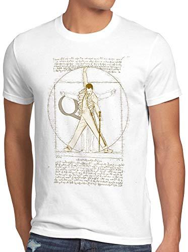 style3 Freddie de Vitruvio Camiseta para Hombre T-Shirt da Vinci Live Rock You Festival, Talla:2XL, Color:Blanco