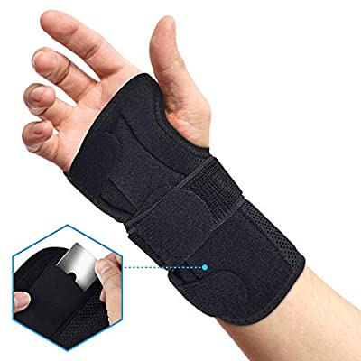 BROTOU Carpal Tunnel Wrist Brace Night Wrist Sleep Stabilizer Splint Support for Tendinitis, Bowling, Sports Injuries Pain Relief - Left/Right Hand (RIGHT)