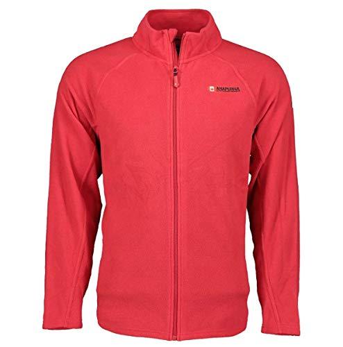 Anapurna Tonneau Herren-Fleece, voller Reißverschluss, zwei Taschen vorne, langarm, WT135-Rot-M