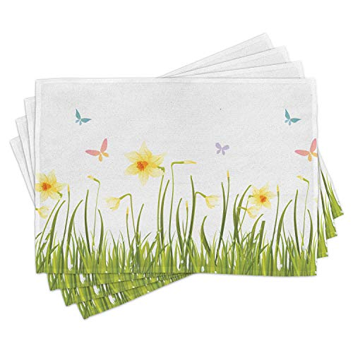 Lunarable Daffodils Place Mats Set of 4, Daffodil Field with Butterflies Meadow and Grass Springtime Park Easter Print, Washable Fabric Placemats for Dining Room Kitchen Table Decor, Yellow Green