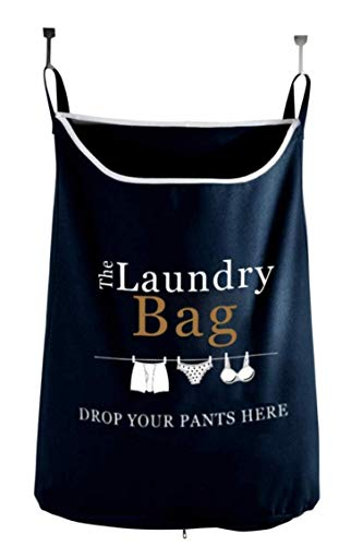 The Fine Living Company USA - Drop Your Pants Here - Hanging Laundry Hamper Bag with Free Door Hooks