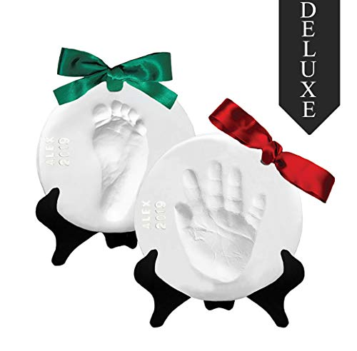 Proud Baby Deluxe Clay Hand Print & Footprint Keepsake Kit - Glaze Finish - Letter Stamps - 4 Ribbons - 2 EASELS - Dries Stone Hard - No Bake - Air Drying (Makes 2 Plaques)