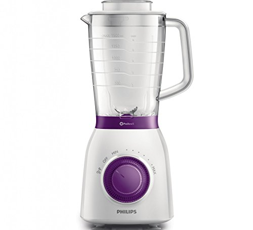 Philips Viva Collection HR2166/00 - Licuadora (2 L, Batidora de vaso, Violeta, Blanco, 1 m, De...
