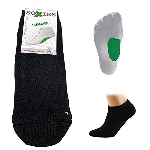 SoXies Summer - mit ergonomischen Gelpad (schwarz, XS (35-37)), lindern Fersensporn, Plantarfasciitis, Plattfußschmerzen und Fuß Schmerzen, Damen & Herren