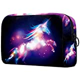 Bolsa de cosméticos de viaje portátil bolsa de almacenamiento, partición ajustable, utilizada para brochas de maquillaje, unicornio de fantasía, azul oscuro, morado nube, cielo estrellado nocturno