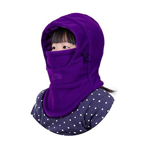 Ahomi Winter Kids Sjaal Dikker Winddichte Hoed Ski Masker Oordopjes (Donker Paars)