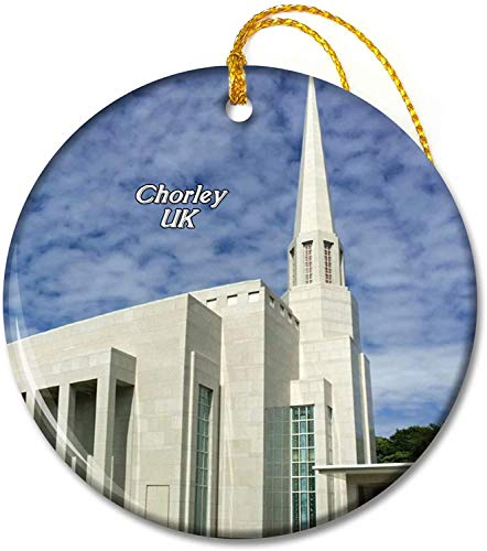 UK England Preston England LDS Mormon Temple Chorley Ornaments 2.8 inch Ceramic Round Holiday Ornament Pandent for Family Friends
