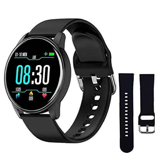 YepYes Smart-Uhren Silikon-Sport-ZL01 intelligente Armband mit schwarzen Ersatzriemen Fitness Tracker Herzfrequenz-Test Pedometer für Männer Schwarz