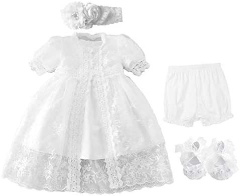 Bow Dream Christening Gown Baby Girl Lace Toddler White Special Occasion Dresses 4Pcs 0 3 Months product image