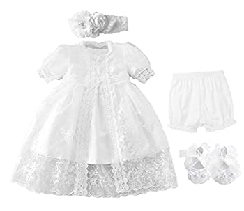Bow Dream Christening Gown Baby Girl Lace Toddler White Special Occasion Dresses 4Pcs 12-18 Months