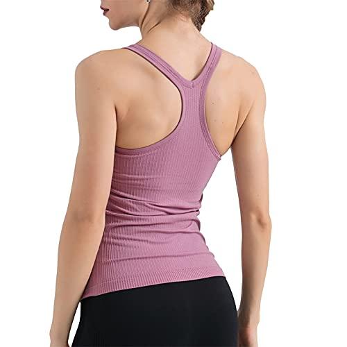 Camiseta Deportiva atlética con Espalda Cruzada para Mujer, Sujetador Deportivo con Camiseta sin Mangas Corta de Yoga