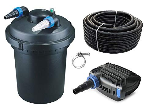 AquaOne Teich Filteranlage Set Nr.12 CPF 380 Druckfilter 20W Eco Teichpumpe Teichgröße bis 12000l Teichschlauch Bachlauf UV Lampe