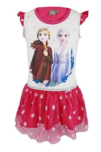 Disney Frozen 2 - Abito Vestito Maniche Corte con Sovragonna in Tulle - Bambina - Cotone - Estate [19 Fucsia - 10 Anni]