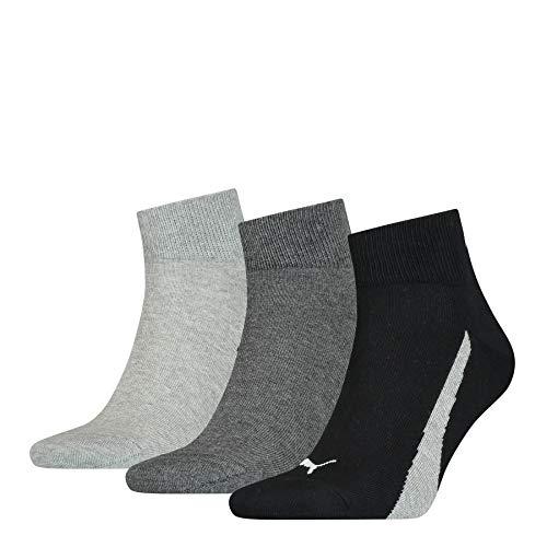 PUMA Lifestyle Quarter Socks (3 Pack) Calcetines, Negro, Blanco, 43/46 Unisex Adulto