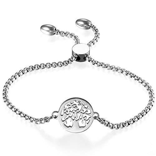 JewelryWe Schmuck Damen Armband, Edelstahl Hohle Baum des Lebens Runde Verstellbar Charm Armkette Armreif, Silber