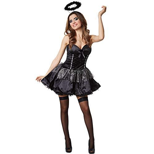 dressforfun 900508 Disfraz de Mujer Ángel Negro, Disfraz Ceñido Detalles Plateados (XXL| No. 302461)