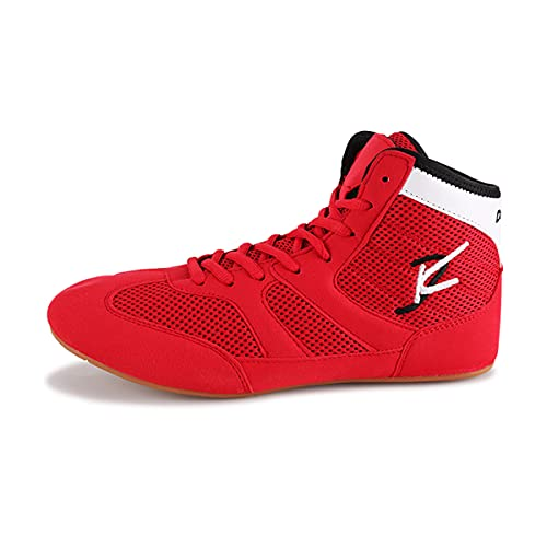Boxing Shoes for Men Men's Wrestling Shoes AS7612 (Red, Numeric_10)