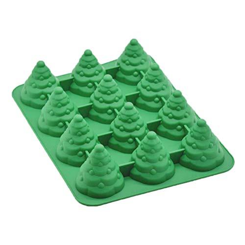 CLISPEED Albero di Natale 3D Stampi in Silicone Strumenti per Decorare Dolci Bakeware Cupcake Dessert Stampo Cioccolato Fondente (Verde)