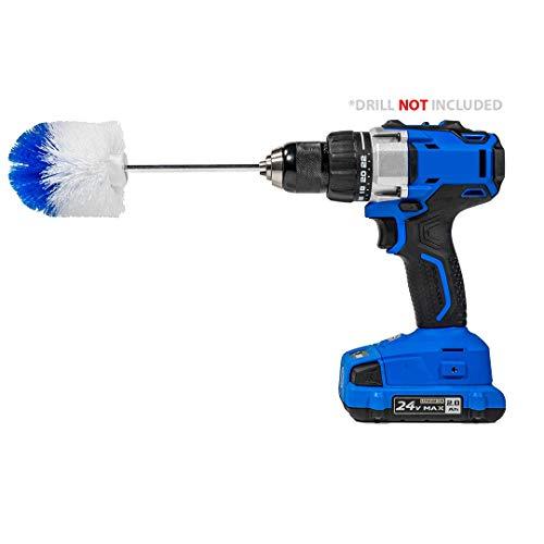 drill brush attachments RotoScrub Long Reach Drill Brush Attachment, All Purpose for Car Tires, Toilets, Corners, Edges, Hard to Reach Areas, Heavy Duty Bristles