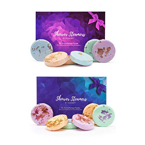 Cleverfy Shower Steamers 2 Pack - Perfect Mothers Day Gift for Her. Every Pack Includes [6X] Shower Bombs with Essential Oils for Relaxation, Stress and Sinus Relief
