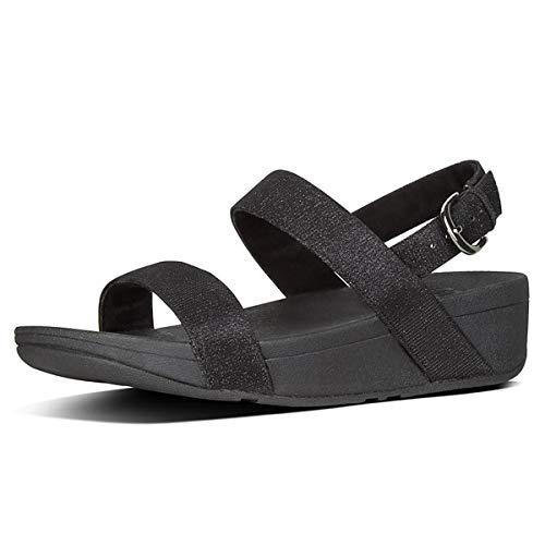 FitFlop Lottie Glitzy Sandal, Sandalias de Punta Descubierta Mujer, Negro (Black 001), 42 EU