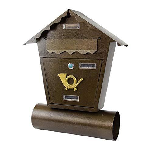 Vintage brievenbus, aluminium legering muur gemonteerde post doos doos veilig buiten waterdichte brievenbus voor villa tuin appartement brons kleur