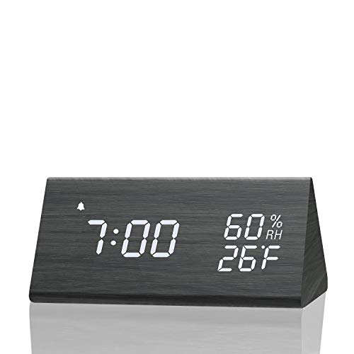 Digital Alarm Clock, with Wooden Electronic LED Time Display, 3 Alarm Settings, Humidity &...
