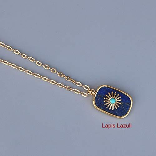 LIUL 7 Colores 60 cm aplastado O Shap Cadena Superior Piedra Natural Colgante geométrico Collar Mujeres Collar de Encanto único