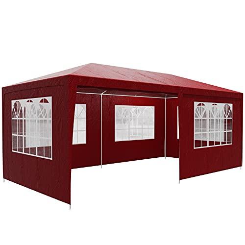 Casaria Gazebo da Giardino 3x6 m Rimini UV 50+ Idrorepellente 6 pareti Tenda Padiglione Tendone Rosso