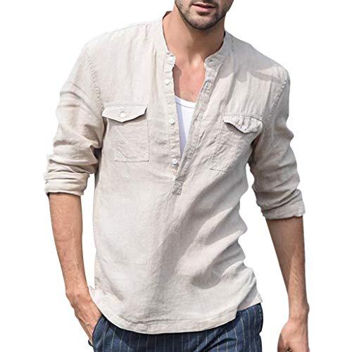 Auifor Mannen Baggy katoen linnen tas solide lange mouwen retro T-shirt tops blouse