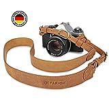 TARION TNS-L2 Sangle pour Appareils Photo en Cuir Réglable Courroie Appareil Photo pour Caméra Reflex DSLR SLR Bandoulière Cuir Appareil Photo pour Leica Canon Nikon Sony Fuji Olympus etc.Brun