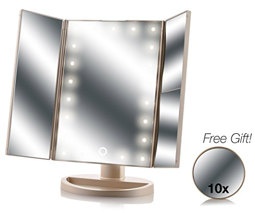Asani Tri-Fold Lighted Magnification Makeup Mirror with a FREE 10X Spot Mirror | 21 LED Lights & Touch Controls | 1X / 2X & 3X Magnifying Cosmetic Vanity Folding Mirrors for Dresser and Travel (Gold)