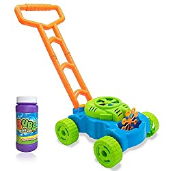 DIMENSIONS This machine is 48cm long please compare sizes and comes with 120ml of Fluid The colour of the mower is subject to change. Battery Operated, takes 3 x AA (Not Included) A TOY MOWER WITH A TWIST: get the kids playing outdoors with this fun ...