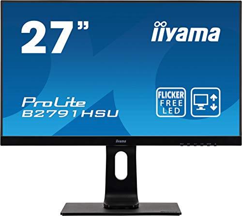 iiyama ProLite B2791HSU-B1 68,6cm (27 Zoll) LED-Monitor Full-HD (VGA, HDMI, DisplayPort, USB2.0, Höhenverstellung, Pivot) schwarz