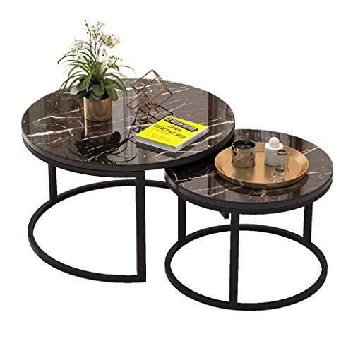 Moderner Beistelltisch 2er-Set, runde Marmorplatte, schwarzer Metallfuß Satztische Couch am Seitenende des Sofas Modernes Büro Wohnzimmermöbel (Farbe: Schwarz, Größe: L (60CM / 80CM))