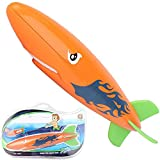 Shark Diving Toy Swimming Pool Toys Dive Torpedo-Shark Underwater Gliders Toy for The Pool Bath Water Park Pool Diving Toys for Kids (Orange)
