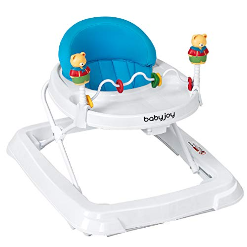 BABY JOY Baby Walker, Foldable Activity Walker Helper with Adjustable Height, Baby Activity Walker with High Back Padded Seat & Bear Toys, Blue