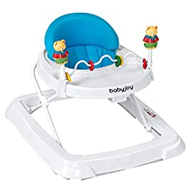 BABY JOY Baby Walker, Foldable Activity Walker Helper with Adjustable Height, Baby Activity Walker with High Back Padded Seat & Bear Toys