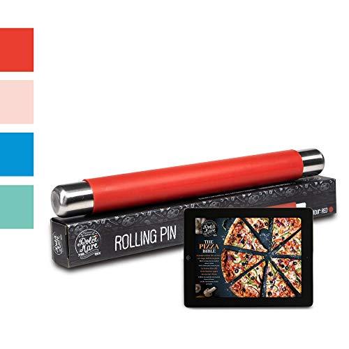 DOLCE MARE Silikon Teigrolle - Antihaft Nudelholz - BPA freie Fondant Rolle für Pizza & alle weiteren Teigwaren - Der Teigroller kommt in Einer edlen Geschenkverpackung (Rot)