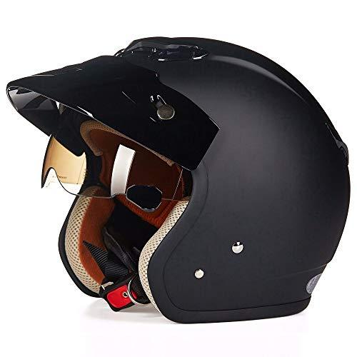 FLHWAN Vintage Harley Motorradhelm, Jethelm Mit Offenem Gesicht DOT-Zertifizierter Cruiser Chopper Pilot Jet 3/4 Halbhelm Universeller Skateboard-Schutzhelm