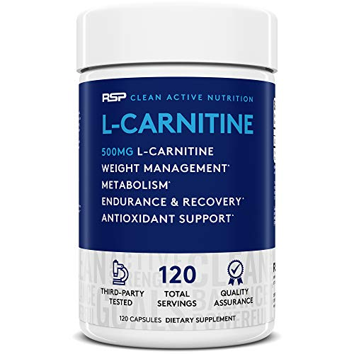 RSP L-Carnitine: Non-Stimulant L Carnitine, Weight Loss Supplement and Metabolism for Men and Women, Amino Acid Workout Diet Pills, 500 milligrams, 120 Capsules