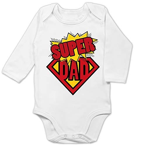 Shirtracer Vatertagsgeschenk Tochter & Sohn Baby - Super Dad - 6/12 Monate - Weiß - Fun - BZ30 - Baby Body Langarm