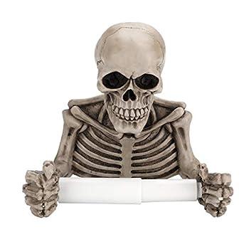 OwnMy Skull Toilet Paper Holder Wall Mount Toilet Tissue Roll Paper Storage Holder Skeleton Tissue Towel Shelf Rack - Bathroom Resin Tissue Roll Holder Wall Decoration for Halloween Ghost Festival