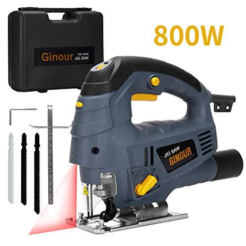 Ginour Seghetto Alternativo, 800W 3000Rpm 7 velocità Seghetto con Laser, Doppio Taglio...