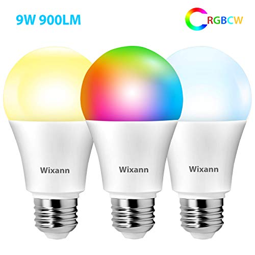 Wixann 9W Smart Wi-Fi Light Bulb Compatible with Alexa & Google Home Assistant (No Hub Required, 2.4Ghz Only), A19, E26, 80W Equivalent Dimmable RGBCW Color Changing LED Bulbs for Siri IFTTT, 3 Pack