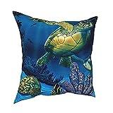 Fundas de almohada cuadradas de 45 x 45 cm, diseño de arrecifes de coral y tortuga, moderno y decorativo de poliéster al aire libre para cama, sofá, dormitorio, coche, sala de estar