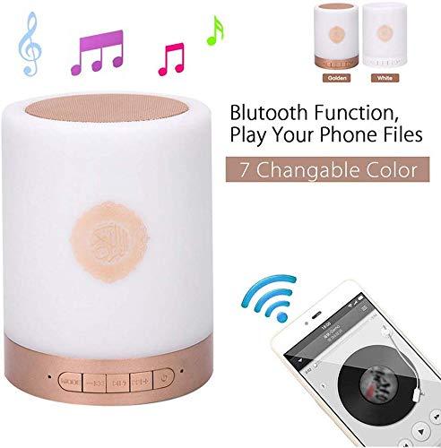 Quran Speaker Bluetooth, senza Fili Quran Smart Touch LED Lampada Speaker Bluetooth con Telecomando Ricaricabile, Lettore MP3 Audio, Radio Fm, 4 Level Illuminazione - Dorato