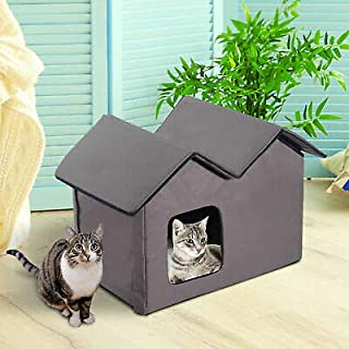 Outdoor Electric Heated Kitty Cat House Bed Waterproof Winter Shelter Warm Brown