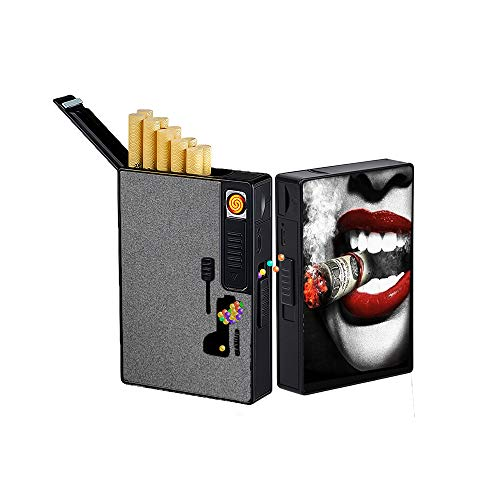 Cigarette Case with Electric Lighter USB Rechargeable,Cigarette Case Crushball Dispenser 2 in 1,Explosion Beads Pushers,DIY Menthol Capsule Cigarette Filter,Flameless,Windproof (Lips)